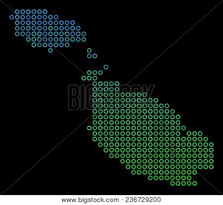 Dotted Gradient Malta Island Map. Vector Geographical Map In Green And Blue Gradiented Color Tones O