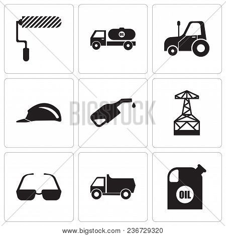 Set Of 9 Simple Editable Icons Such As Oil Container, Truck, Sunglasses, Oil Derrick, Pump, Header,