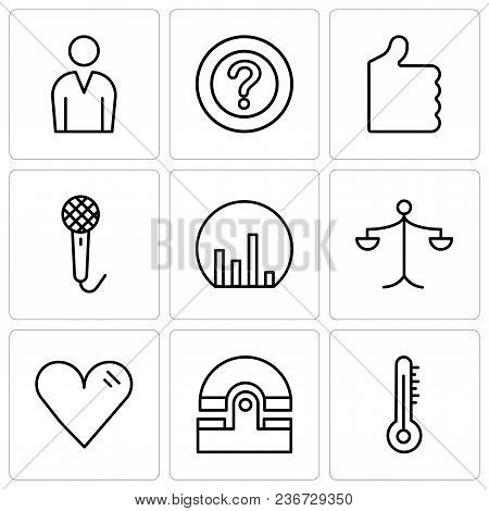 Set Of 9 Simple Editable Icons Such As Mercury Thermometer, Old Phone, Heart, Weighing Scale, Bar Ch
