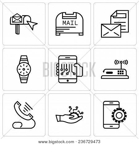 Set Of 9 Simple Editable Icons Such As Setup, Development, Telephone, Router, Smartphone, Smartwatch