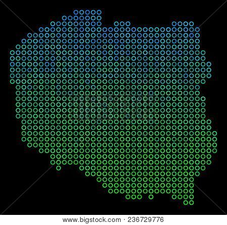 Dotted Gradient Poland Map. Vector Territorial Map In Green And Blue Gradiented Color Variations On