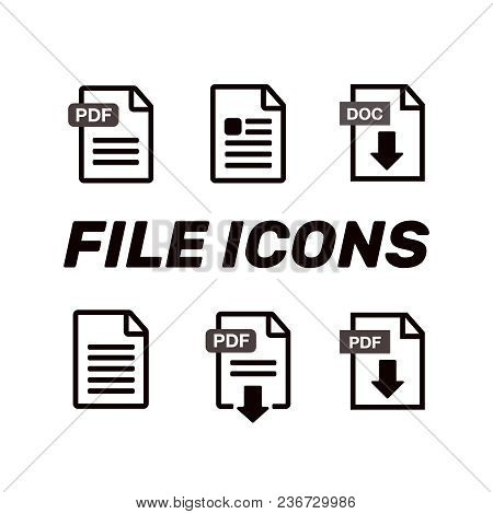 File Icons. Document Icon Set. File Icons Line Style Illustration