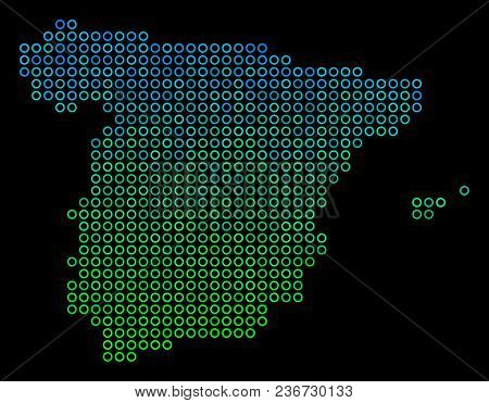Dotted Gradient Spain Map. Vector Territorial Map In Green And Blue Gradiented Color Tones On A Blac