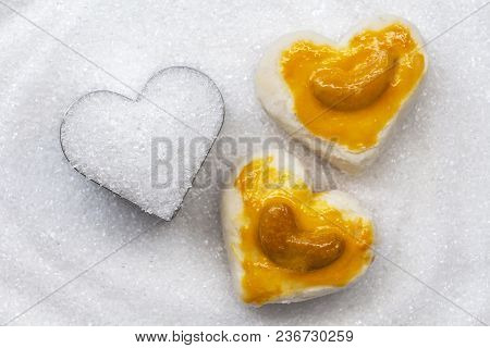 Heart Shape Cookies With Cashew Nut Or Singapore Cookie On The Pile White Granulated Sugar For Valen