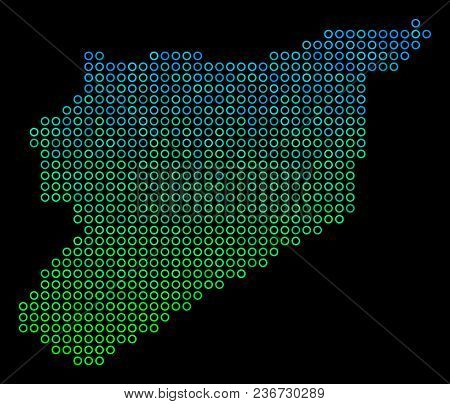 Dotted Gradient Syria Map. Vector Geographic Map In Green And Blue Gradiented Color Shades On A Blac