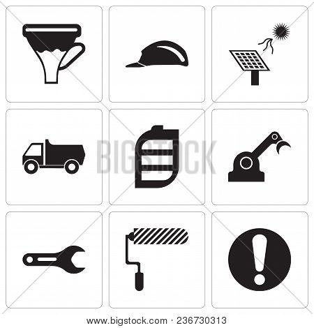 Set Of 9 Simple Editable Icons Such As Exclamation, Roller, Pipe Wrench, Jenny, Battery, Truck, Sola