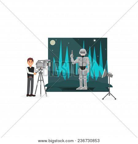 Movie Operator Shooting Scene With Astronaut, Entertainment Industry, Movie Making Vector Illustrati