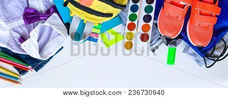 School Fees, Colorful Pencils Scissors On White Background, Space For Text, Flat Lay, Back To School