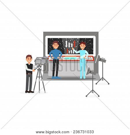 Cameraman And Actors Working On The Fantastic Film, Entertainment Industry, Movie Making Isolated On