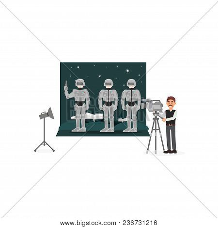 Movie Operator Shooting Scene With Astronauts In Space, Entertainment Industry, Movie Making Vector