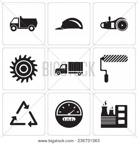 Set Of 9 Simple Editable Icons Such As Factory, Speedometer, Triangle, Roller, Truck, Saw Blade, Ele
