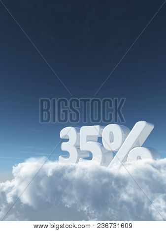 Number Thirty-five And Percent Symbol In The Sky - 3d Rendering