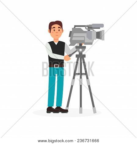 Cameraman With Movie Camera, Entertainment Industry, Movie Making Vector Illustration Isolated On A