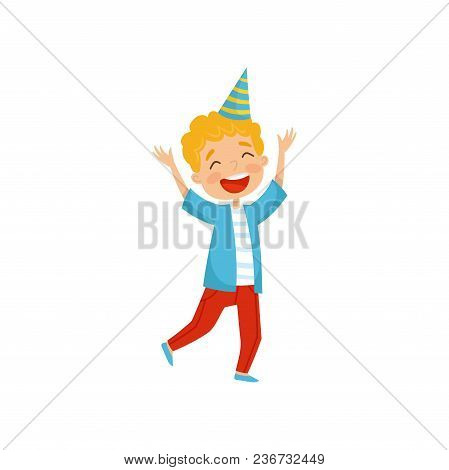 Cute Boy In Party Hat Having Fun At Birthday Party Cartoon Vector Illustration Isolated On A White B