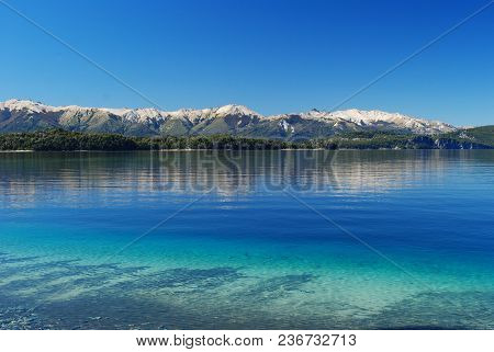 Beautiful Landscape Of Nahuel Huapi Lake, In Villa La Angostura, Patagonia Argentina, With Mountains