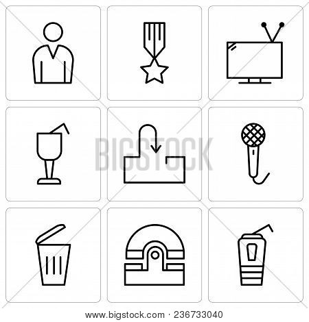 Set Of 9 Simple Editable Icons Such As Paper Cup With A Drinking Straw, Old Phone, Dustbin, Voice Re