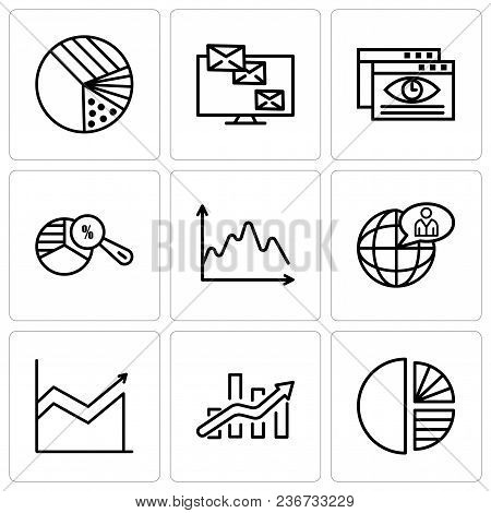 Set Of 9 Simple Editable Icons Such As Simple Chart, Bars Chart, Global User, Data, Pie Chart Analys