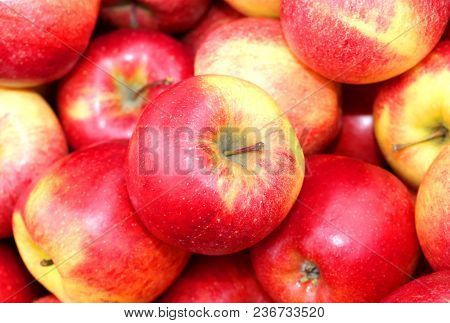 Background Of Red Big Apples For Sale