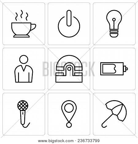 Set Of 9 Simple Editable Icons Such As Open Umbrella, Location Pointer, Voice Recorder, Magic Wand,