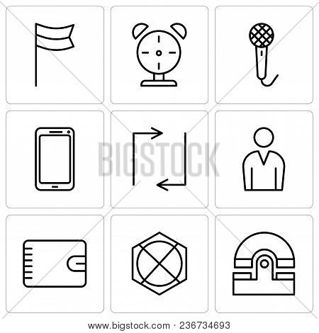 Set Of 9 Simple Editable Icons Such As Old Phone, Arrow Pointing To Up, Wallet With Zipper, Male Ava