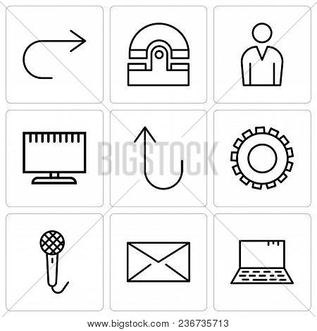 Set Of 9 Simple Editable Icons Such As Laptop, Closed Envelope, Voice Recorder, Gear, Cancel Button,