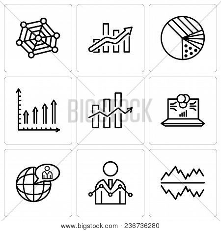 Set Of 9 Simple Editable Icons Such As Text Settings Bubble, Data Analyser, Global User, Laptop Data