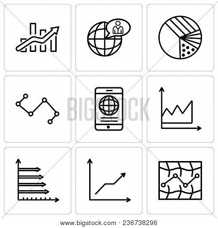 Set Of 9 Simple Editable Icons Such As Stock, Data Analytics Descending, Analytic, Data Graphic, Mob