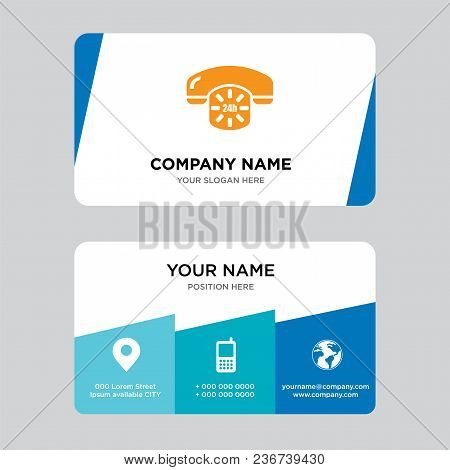 24 Hours Phone Service Business Card Design Template, Visiting For Your Company, Modern Creative And