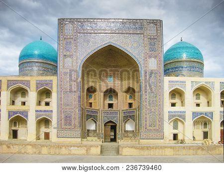 Mir-i-arab Madrasa At The Poi Kalyan Complex In Bukhara, Uzbekistan. Unesco Heritage Site. Miri Arab
