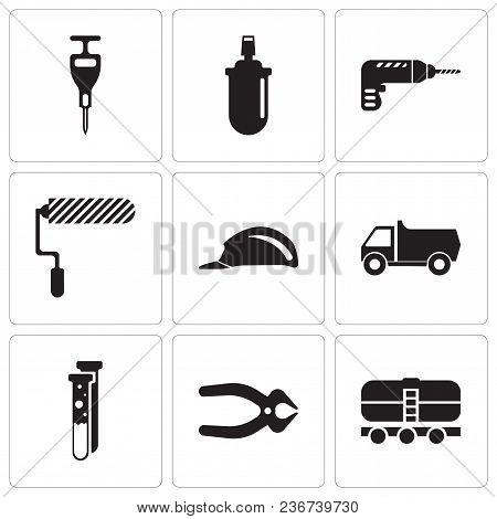 Set Of 9 Simple Editable Icons Such As Train, Nipper, Capsule, Truck, Header, Roller, Drill, Gas Can