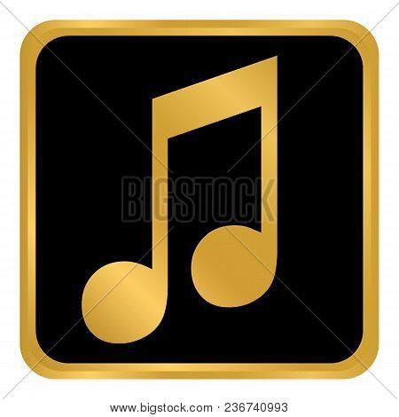 Music Button On White Background. Vector Illustration.