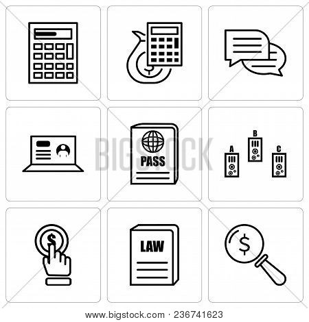 Set Of 9 Simple Editable Icons Such As Lens, Law Book, Click, Folder, Passport, Laptop, Chat, Money