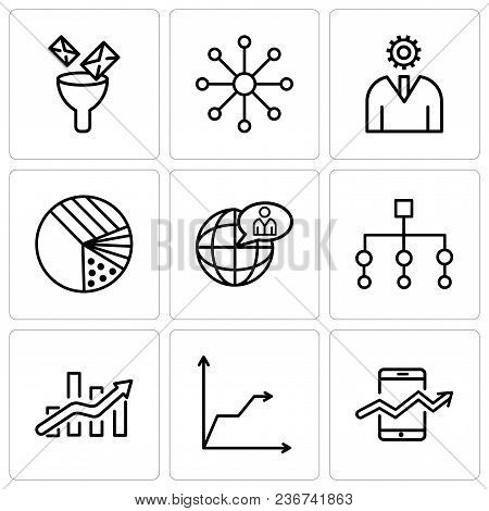Set Of 9 Simple Editable Icons Such As Web Stocks Data, Triangular Pyramid, Bars Chart, Flow Chart I