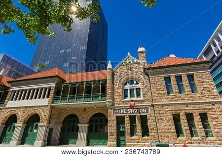 PERTH, AUSTRALIA - FEBRUARY 2018 : Old Perth Fire Station (Fire brigade No.1 Station) on Murray St. in Perth, Australia on February 24, 2018. It is now Fire Safety Education and Heritage Centre Museum