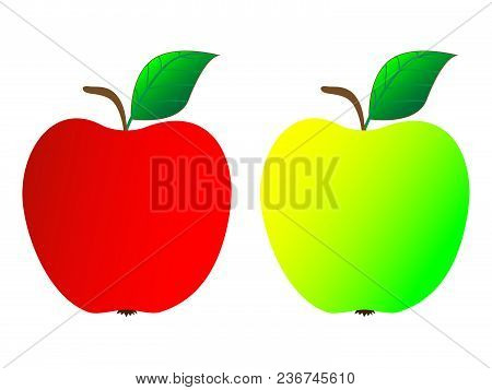 Two Wonderful Green And Red Fresh Ripe Apples On A White Background