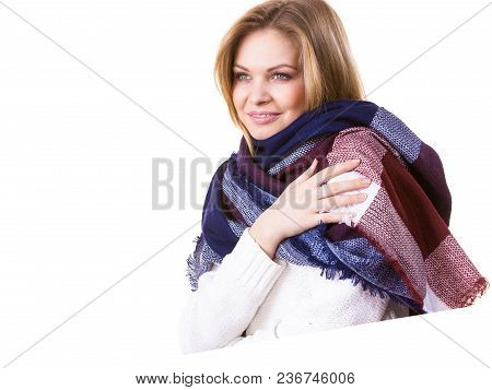 Woman Feeling Comfortable Wearing Her Soft Colorful Warm Autumnal Shawl Scarf. Autumn Outfit Accesso