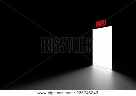 Minimalistic Scene With The Output From Darkness To Light. Dark Photo Style. Dark Room In A Corner P