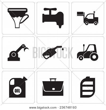 Set Of 9 Simple Editable Icons Such As Battery, Bag, Oil Container, Autotruck, Pump, Jenny, Lorry, C