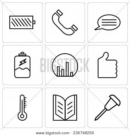 Set Of 9 simple editable icons such as Pushpin, Open book, Mercury thermometer, Thumb up, Bar chart, Battery charging, Speech bubble with text, Headphones, Battery level, can be used for mobile, web poster