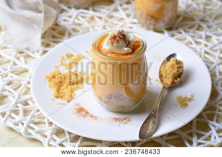 Delicious Pumpkin Cheesecake, Homemade Portion Dessert In A Cup