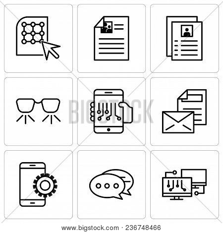Set Of 9 Simple Editable Icons Such As Network, Chat, Setup, Mail, Smartphone, Ar Glasses, Flyer, Cl