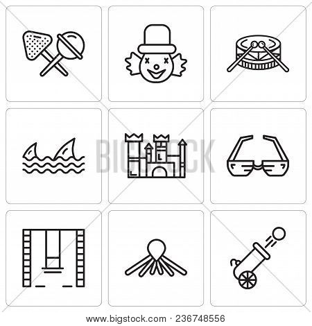 Set Of 9 Simple Editable Icons Such As Cannon, Balloon Dog, Swings, 3d Glasses, Castle, Sharks, Drum
