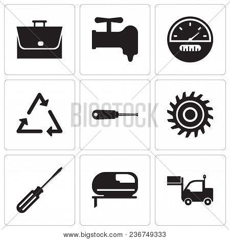 Set Of 9 Simple Editable Icons Such As Lorry, Jigsaw, Screwdriver, Saw Blade, Turn-screw, Triangle,