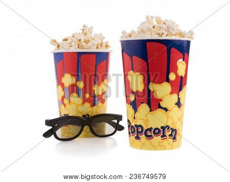 2 Bucket Of Poprocn On A White Background.popcorn And Cinema Glasses Flat Lay