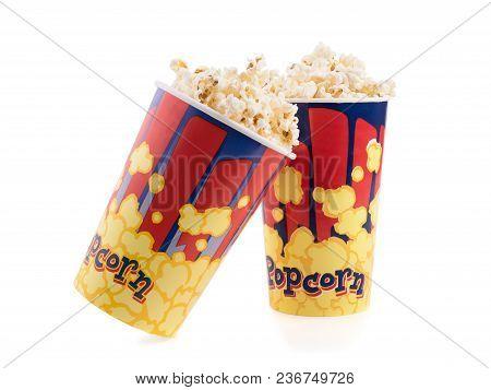 2 Bucket Of Poprocn On A White Background. Cinema Everning