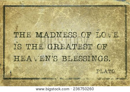 The Madness Of Love Is The Greatest - Ancient Greek Philosopher Plato Quote Printed On Grunge Vintag