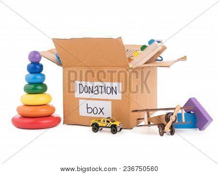 Donation Box. Wooden Toys In The Carton Box