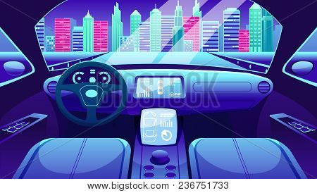 Electric Vehicle Interface Design. Electric Vehicle Dashboard Of Smart Car. Virtual Control Of City