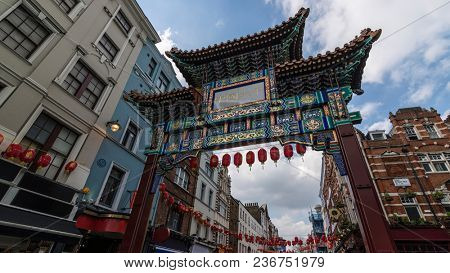 The Gate in chinatown, london, England. The Chinese text translates
