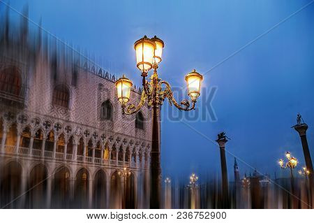 Doges Palace (palazzo Ducale) Seen From Saint Mark Square At Blue Hour In Venice. Motion Blur Filter